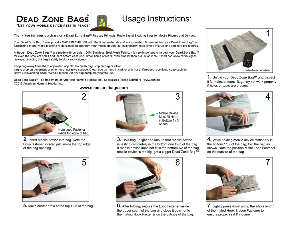 Dead Zone Bags ™ Care and Usage Instructions